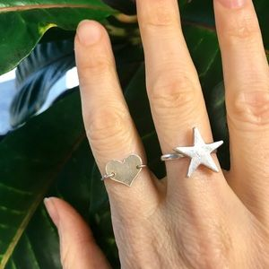 Jewelry - Two STERLING SILVER rings STAR HEART bands love